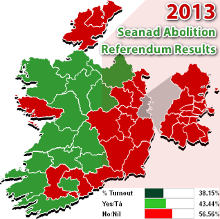 2013 Irish Seanad Abolition Referendum - constituencies results map