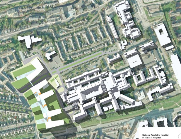 Ariel View of Proposed Irish National Paediatric Hospital at St James's Hospital, Dublin 8