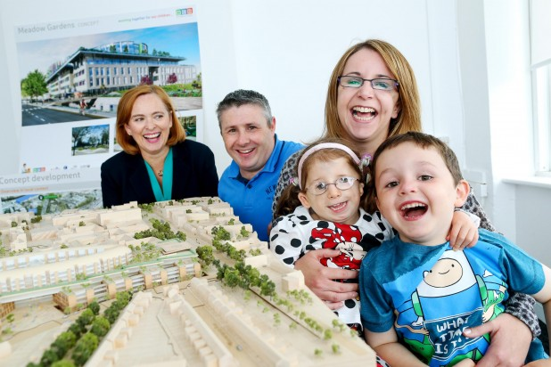 Children who attend the Cleft & Craniofacial Services both in Temple Street and the Orthodontic  Unit on the St James's campus  joined Eilísh Hardiman, Chief Executive of the Children's Hospital Group, to launch the new children's hospital Information Centre on the South Circular Road, Dublin 8. Pictured is Saoirse Dunne with her mother Elisha and brother James.