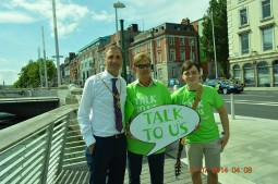 "Conor Hamilton, Dickie Rock, & Lord Mayor of Dublin Christy Burke, at the launch of ""Talk To Us ""for the Samaritans"