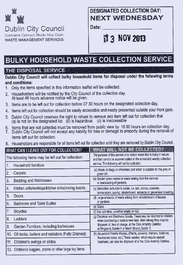 DCC Large Household Waste Disposal Collection Dublin 8