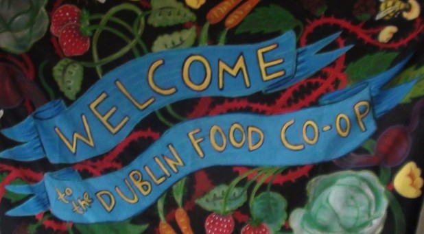 'Welcome to the Dublin Food Coop' handmade banner