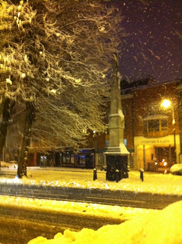 The Fountain on James's Street, during the snow/cold/bad weather of November and December 2010