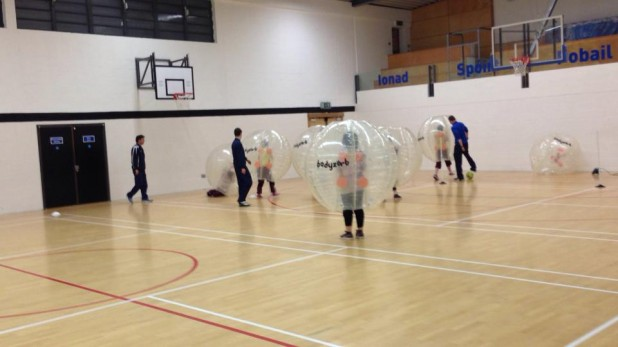 Image taken during Football Zorbing game in Dublin - Fountain Youth Project, Basin Street