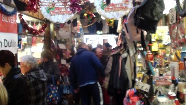 Shoppers at Liberty Market on Meath Street at Christmas - Dublin, Ireland, 2013