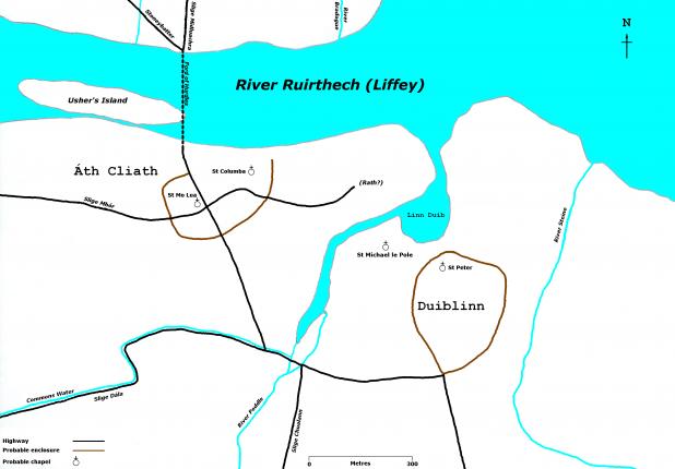 Map Of Dublin City's Origins in around 800ad