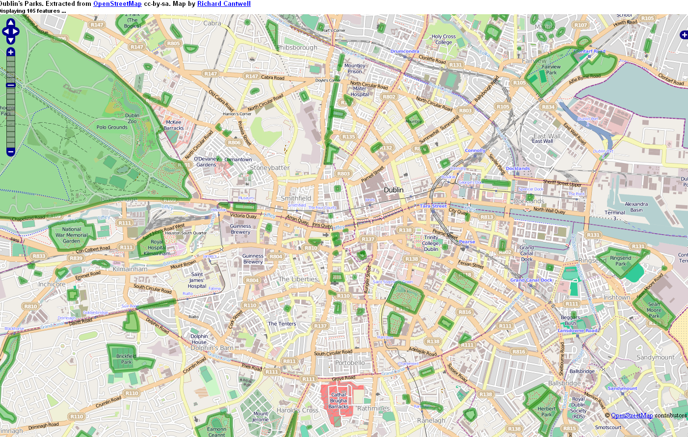 Map Showing The Lack Of Green Spaces/Public Parks In Dublin 8