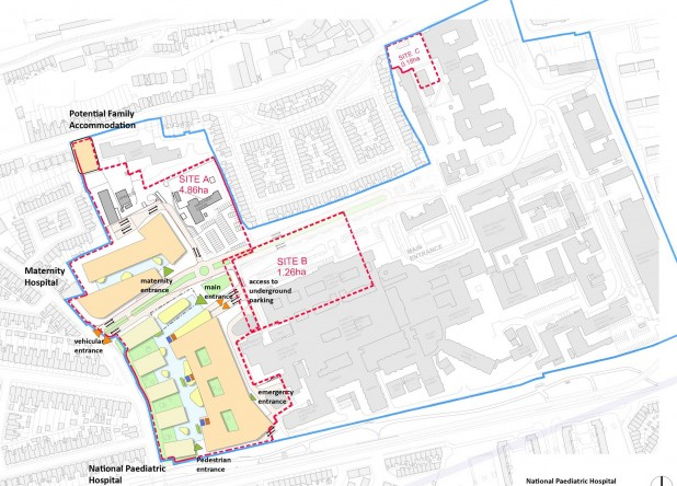 Map plans of new Irish National Paediatric Hospital in Dublin 8