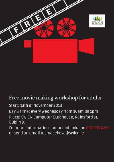 Free Movie making Classes Dublin 8 (Wednesdays)