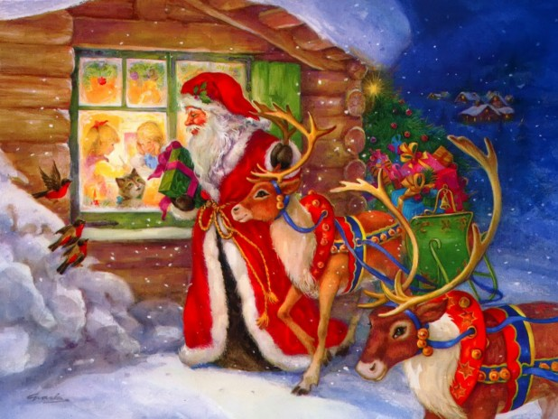 Santa-with-reindeer-watches-kids-through-window-tosecretly-place-gifts-cartoon-image