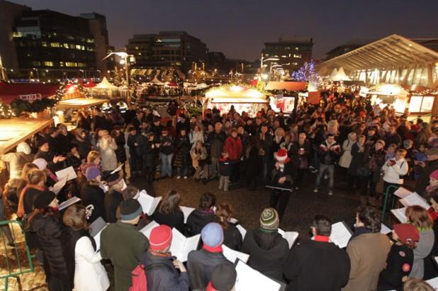 Carol singing at the Dublin Docklands Christmas Markets