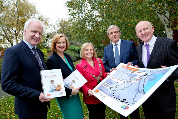 10-11-15…No Repro Fee …Independent Report finds the new children's hospital will have a transformative impact on Dublin 8 . EY Report sets out a roadmap for 'Harnessing the Potential' from the new children's hospital Pic shows from left Lorcan Birthistle Chief Executive St James Hospital , Eilish Hardiman CEO The Childrens Hospital Group , Dublin Lord Mayor Criona Ni Dhalaigh , Gordon Jeyes Independent Chair and project Director John Pollock . An independent report by EY (Ernst Young), published today, outlines opportunities that would be created for residents and businesses in Dublin 8 (and parts of Dublin 12) as a result of the decision to locate the new children's hospital (nch) on a campus shared with St. James's Hospital. The Report was commissioned by a Community Benefits Oversight Group which was established by the National Paediatric Hospital Development Board (NPHDB) and the Children's Hospital Group (CHG), to ensure that the impact of the €650 million investment could be maximised in the short, medium and long term for the local community. The Oversight Committee is chaired by Gordon Jeyes. The EY 'Harnessing the Potential' report found that there are a wide range of areas in which the local community will benefit. It sets out a series of recommendations which will ensure that the benefits are maximised.     Pic Maxwell's - No Repro Fee   10-11-15