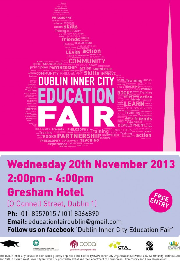 Dublin Inner City Education Fair 2013 poster, by SWICN