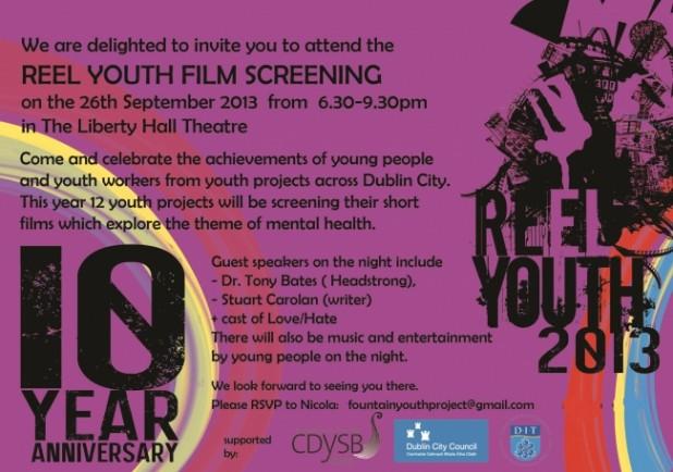 Reel Youth 2013 Dublin Premiere invitation - Stuart Carolan Love/Hate