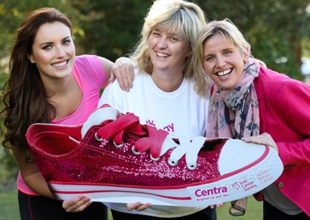 Pink Walks 2013 promotional launch - Holly Carpenter (model) Breda Cahill (Centra retailer) and Emma Barrett (Irish Cancer Society)