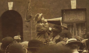 An unidentified woman addresses a crowd of strikers during the 1913 Lockout